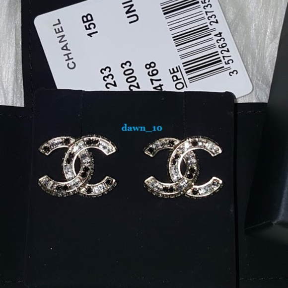 Chanel Jewelry - Chanel Crystal CC Stud Earrings, Gold.